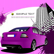 Purple business background with car image. Vector illustration — Stock Vector