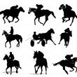 Horse riders silhouettes. Vector illustration - Stock Vector