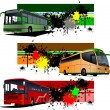 Three grunge Banners with city bus. Vector illustration — Stock Vector