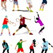 Tennis player. Colored Vector illustration for designers — Stock Vector