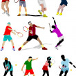 Stock Vector: Tennis player. Colored Vector illustration for designers