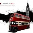 Grunge blot banner with London images. Vector illustration — Vettoriali Stock