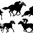 Isolated horse racing silhouettes. Vector illustration. - Stock Vector