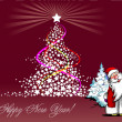Royalty-Free Stock Imagem Vetorial: Christmas - New Year tree with Santa image. Vector illustration