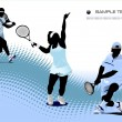 Three Tennis players. Vector illustration — Stock Vector #5428716