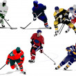 Ice hockey players. Colored Vector illustration for designers - Stok Vektr