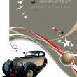 Light brown business background with retro car image. Vector ill - Stock Vector
