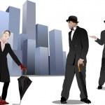 Pán a dáma s deštníkem na pozadí města. vektorové špatně — Stock vektor