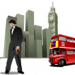 Few London images on city background. Vector illustration — Imagen vectorial