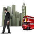 einige bilder von london stadt hintergrund. vektor-illustration — Stockvektor