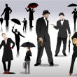 Men and women with umbrella silhouettes. Vector — Stock Vector #5428821