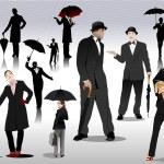 hombres y mujeres con siluetas de paraguas. Vector — Vector de stock  #5428821