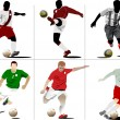 Six Soccer players. Colored Vector illustration for designers - Stock Vector