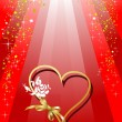 Red Greeting card for  Valentine`s Day with hearts image. Vector — Vettoriali Stock