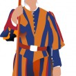 Swiss guard in Vatican. Vector illustration — Stock Vector