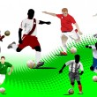 Seven Soccer players. Colored Vector illustration for designers — Stock Vector