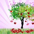 Decorative Valentine`s Day tree with hearts and lips — 图库矢量图片