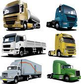 Six trucks. Vector illustration — Stock Vector