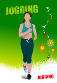 Groene zomer poster met joggen vrouw. vectorillustratie — Stockvector