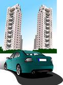 Dormitory and green car sedan. Vector illustration — Stock Vector