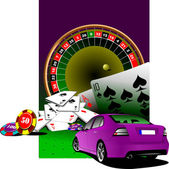 Casino elements with purple luxury sedan car . Vector illustrati — Stock Vector