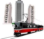 Dormitory and tram. Vector illustration — Stock Vector