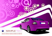 Purple business background with luxury car image. Vector illustr — Stock Vector
