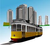 Dormitory and rarity tram. Vector illustration — Stock Vector
