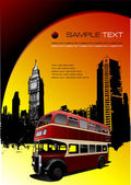 London images with double Decker bus. Vector illustration — Stock Vector