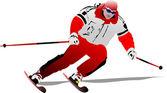 Ilustração em vetor de cor da imagem de esquiador — Vetorial Stock
