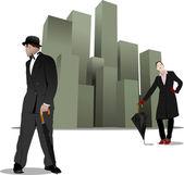 Gentilhomme et dame avec parapluie sur le fond de la ville. vector — Vecteur