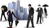 Pan i pani z parasolem na tle miasta. źle wektor — Wektor stockowy