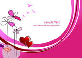 Valentine`s day background with hearts and lips images — Stockvector