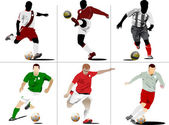 Six Soccer players. Colored Vector illustration for designers — Stock Vector