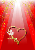Red Greeting card for Valentine`s Day with hearts image. Vector — Stock Vector