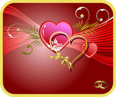 Red Greeting card for Valentine`s Day with hearts image. Vector — Stockvektor