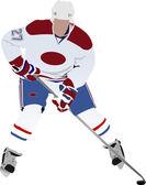Ice hockey player. Vector illustration — Stock Vector