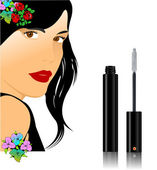 Floral woman silhouette with mascara image. Vector illustration — Stock Vector