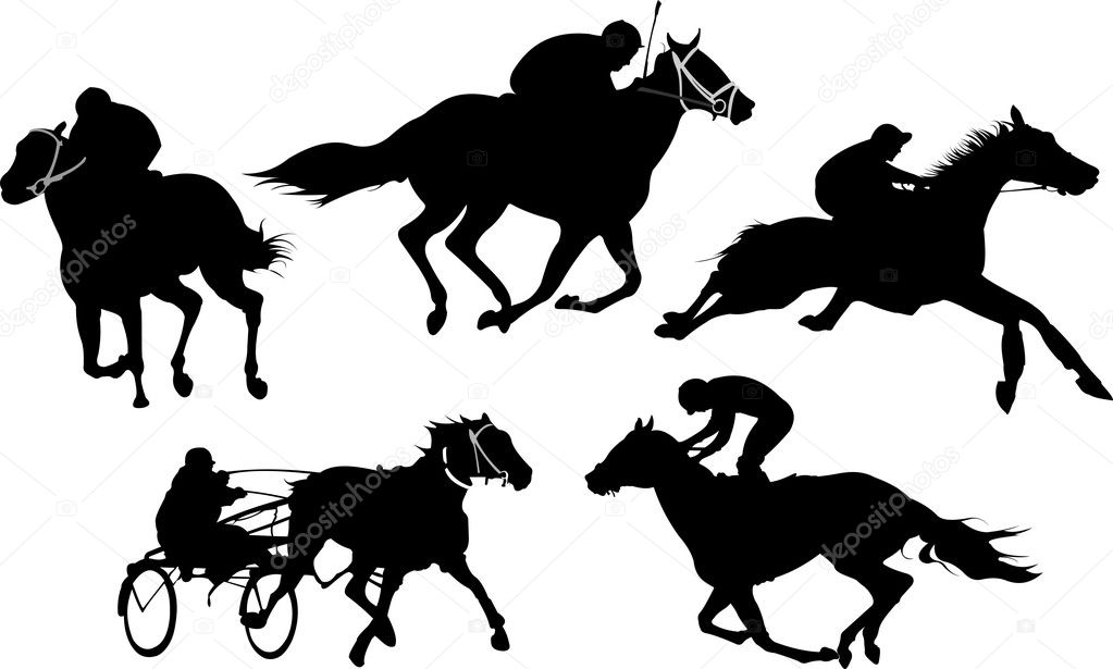 Isolated horse racing silhouettes. Vector illustration.  — Stock Vector #5428702