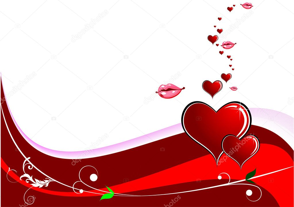Valentine`s day background with hearts and lips images. Place for text. Vector illustration — Stock Vector #5428823