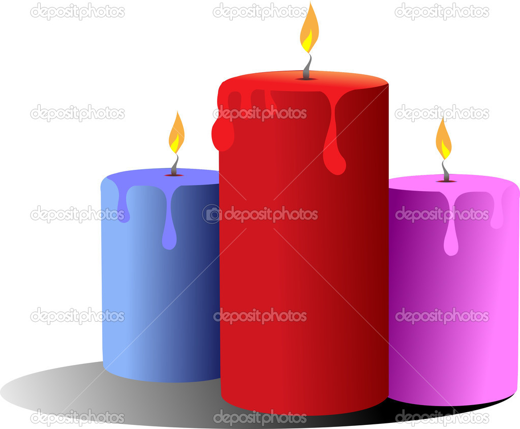 Three burning candles. Vector  — Vettoriali Stock  #5428839