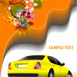 Floral background with yellow car image. Vector illustration. In — 图库照片