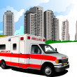 Stock Photo: Dormitory and ambulance. Vector illustration