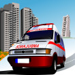 Stock Photo: Dormitory and umbulance. Vector illustration
