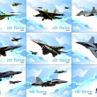 Nine posters of Air force team. Vector illustration — ストック写真