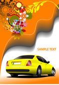 Floral background with yellow car image. Vector illustration. In — Stock Photo