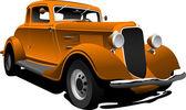 Old orange car. Sedan. Vector illustration — Stock Photo