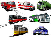 Set of municipal transport images. Vector illustration — Stock Photo