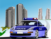 Dormitory and police. Vector illustration — Stock Photo