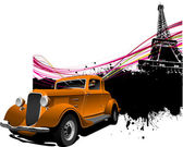 Paris image background with more than 50 years old vintage car . — Stock Photo
